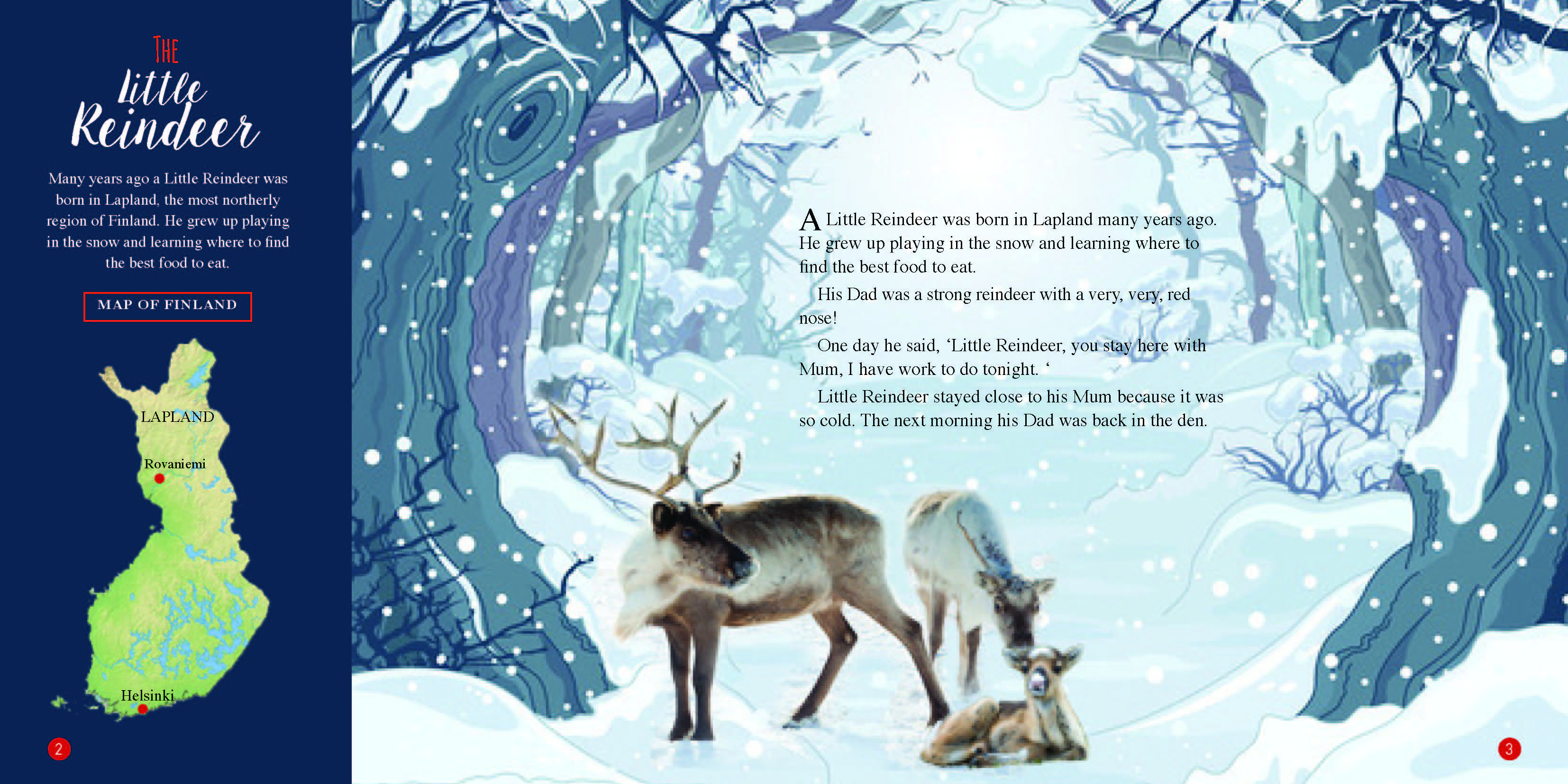 The Little Reindeer book inside page